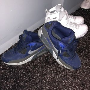 Blue and grey nike sneakers
